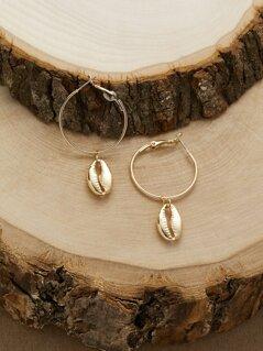 Puka Shell Charm Small Hoop Earrings