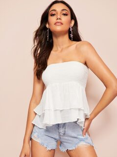 Layered Ruffle Hem Shirred Bandeau Top