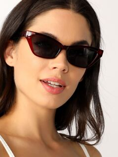 Sporty Wayfarer Style Clear Acrylic Sunglasses