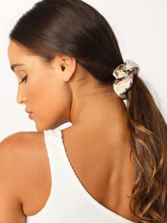 Velvet Floral Scrunchie Hair Tie