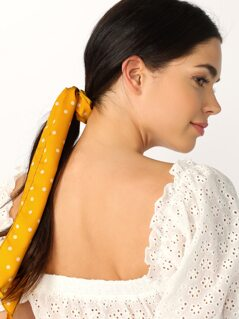 Polka Dot Scrunchie Hair Tie With Flowy Tail
