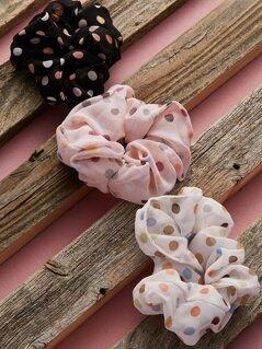 Set Of Three Polka Dot Hair Tie Scrunchie