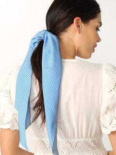 Stripe Scrunchie Hair Tie With Flowy Tail