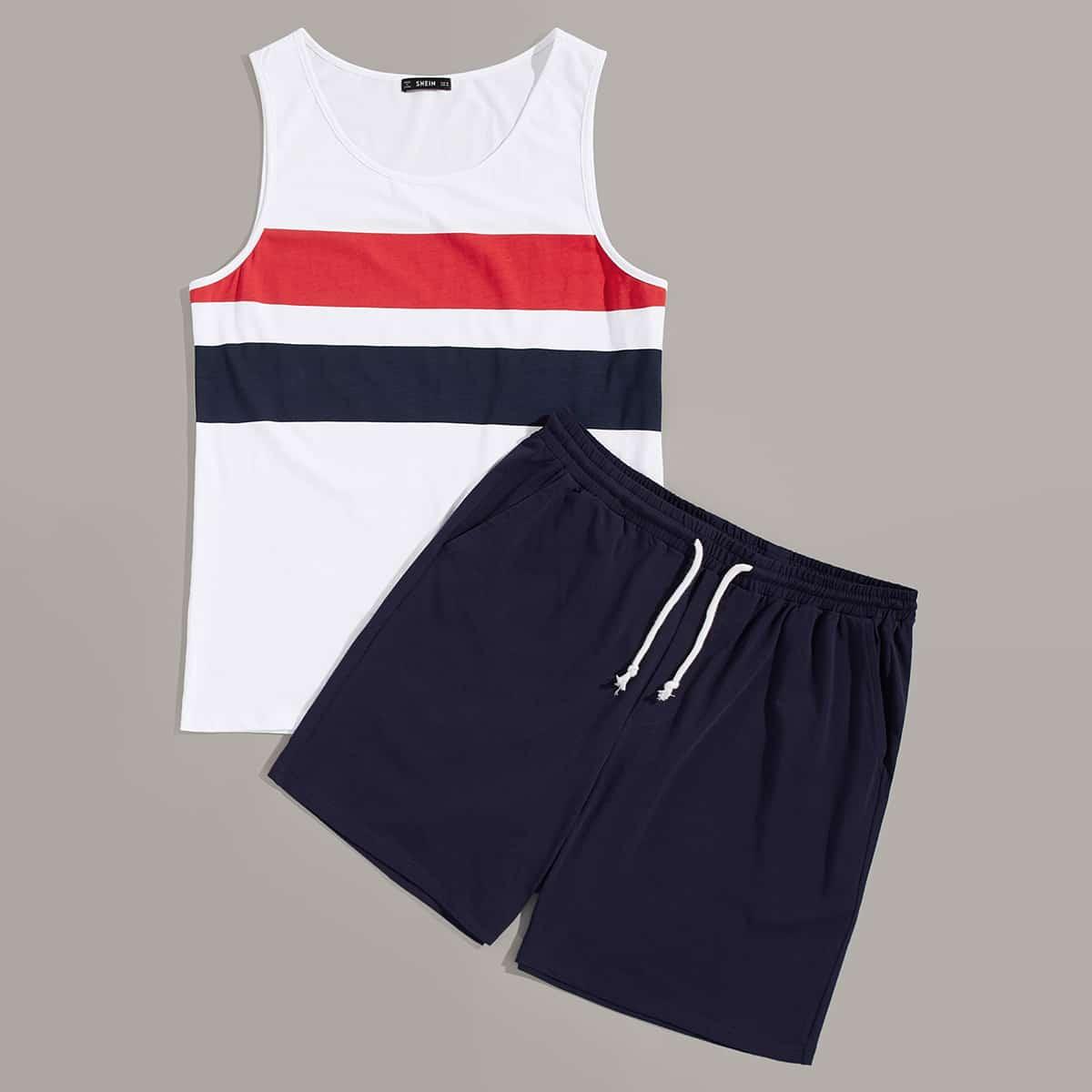 мужской контрастный топ и шорты с карманом комплект от SHEIN