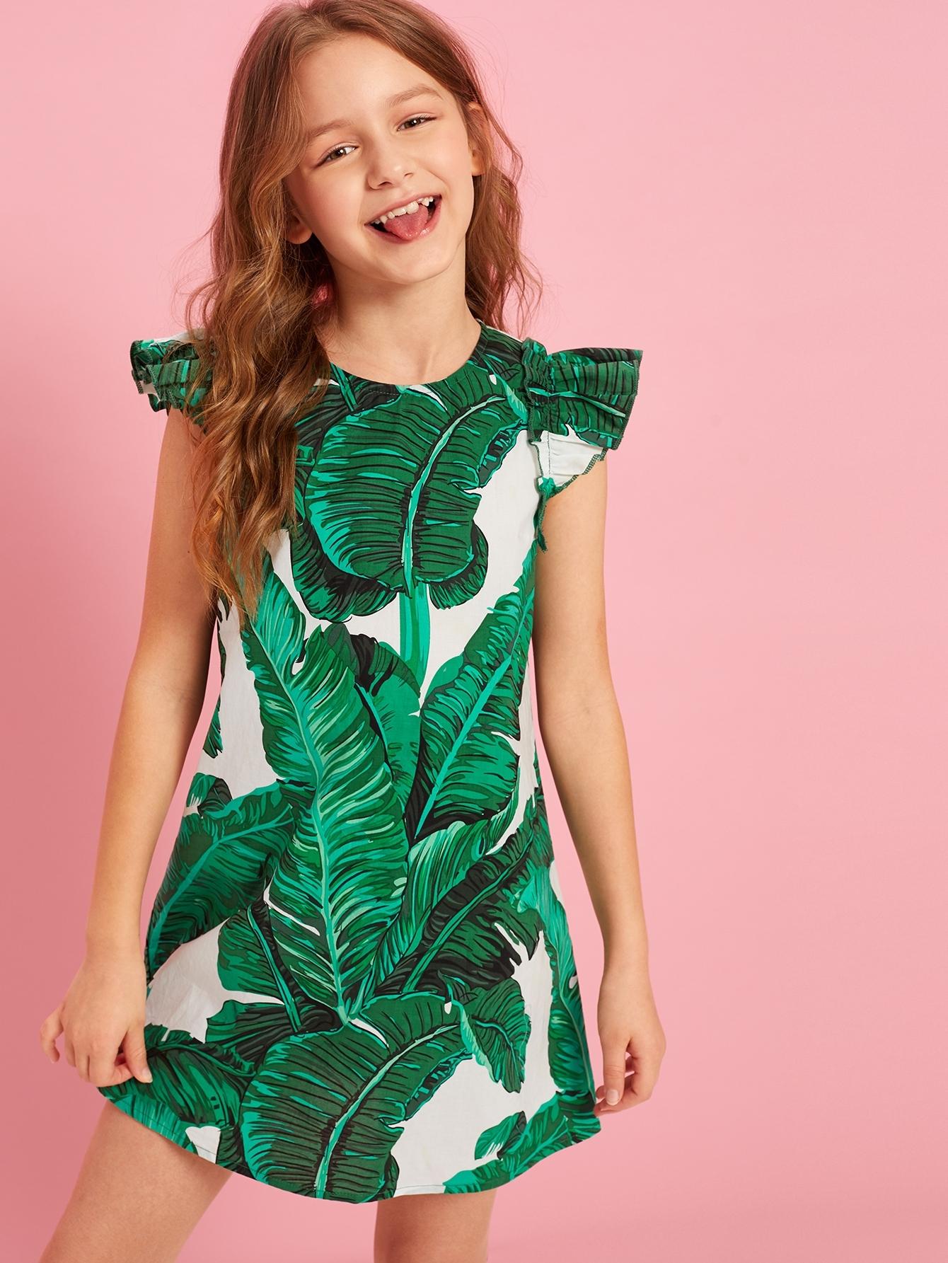 Фото - Платье с оборкой и тропическим принтом для девочек от SheIn цвет зелёные
