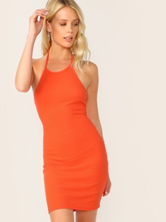 Neon Orange Rib-knit Backless Halter Dress