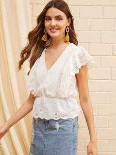 Button Front Ruffle Trim Schiffy Blouse