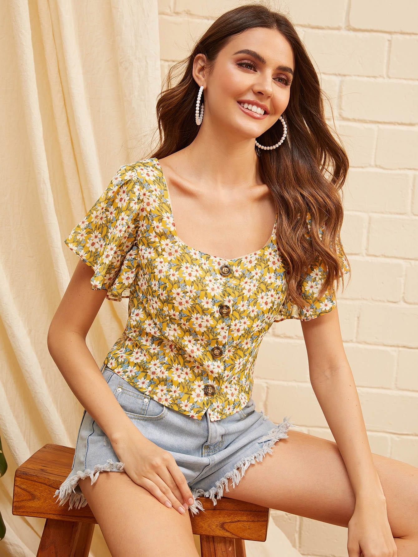 Фото - Рубашку с оригинальным рукавом и цветочным принтом от SheIn цвет многоцветный