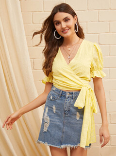 Ruffle Trim Wrap Belted Embroidery Eyelet Top