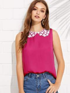 Neon Pink Guipure Lace Collar Keyhole Back Top