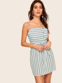 Button Detail Striped Belted Slip Dress