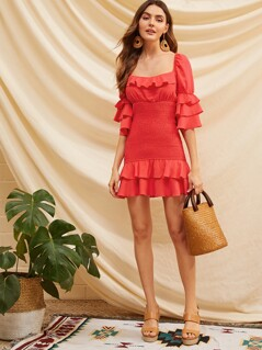Layered Ruffle Trim Shirred Panel Dress