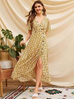 Single Breasted Split Hem Daisy Print Tea Dress