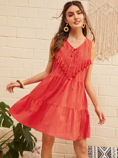 Tie Front Guipure Lace Yoke Tassel Trim Dress