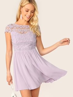 Zip Backless Guipure Lace Bodice Dress