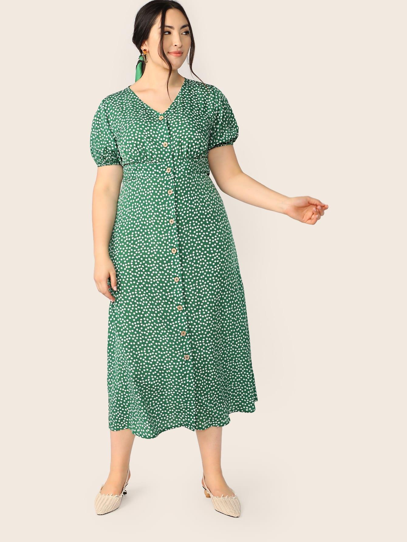 Фото - Размер плюс платье с цветочным принтом от SheIn цвет зелёные