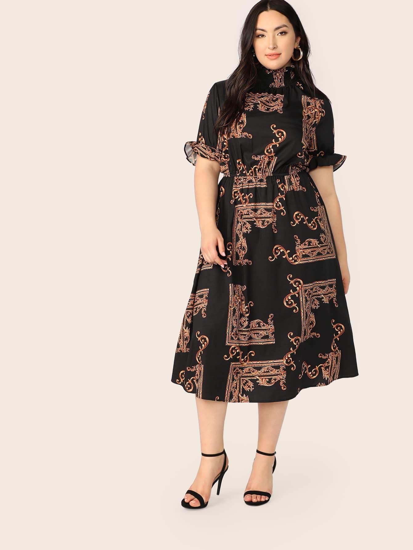 Фото - Размер плюс платье с принтом и складным воротником от SheIn цвет многихцветные