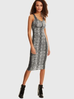 O-ring Zip Front Snakeskin Tank Pencil Dress