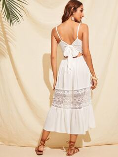 Guipure Lace Insert Bow Tie Back Cami Dress