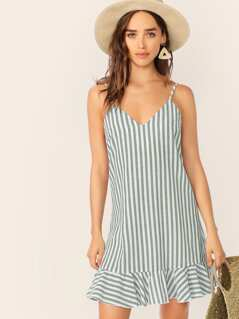 V-neck Striped Ruffle Hem Slip Dress