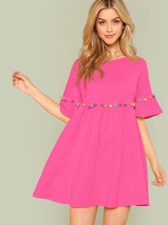 Neon Pink Colorful Pompom Detail Smock Dress