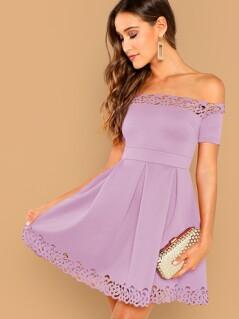 Off Shoulder Laser Cut Boxy Pleated Dress
