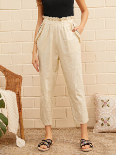Ruffle Trim Fringe Detail Slant Pocket Pants
