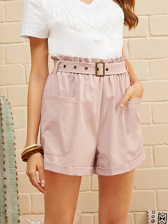 Paperbag Waist Patch Pocket Belted Cuffed Shorts