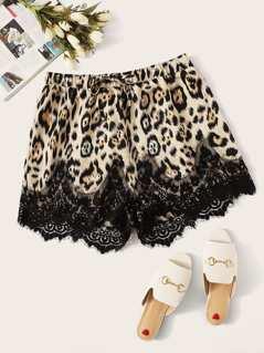 Plus Eyelash Lace Leopard Print Shorts