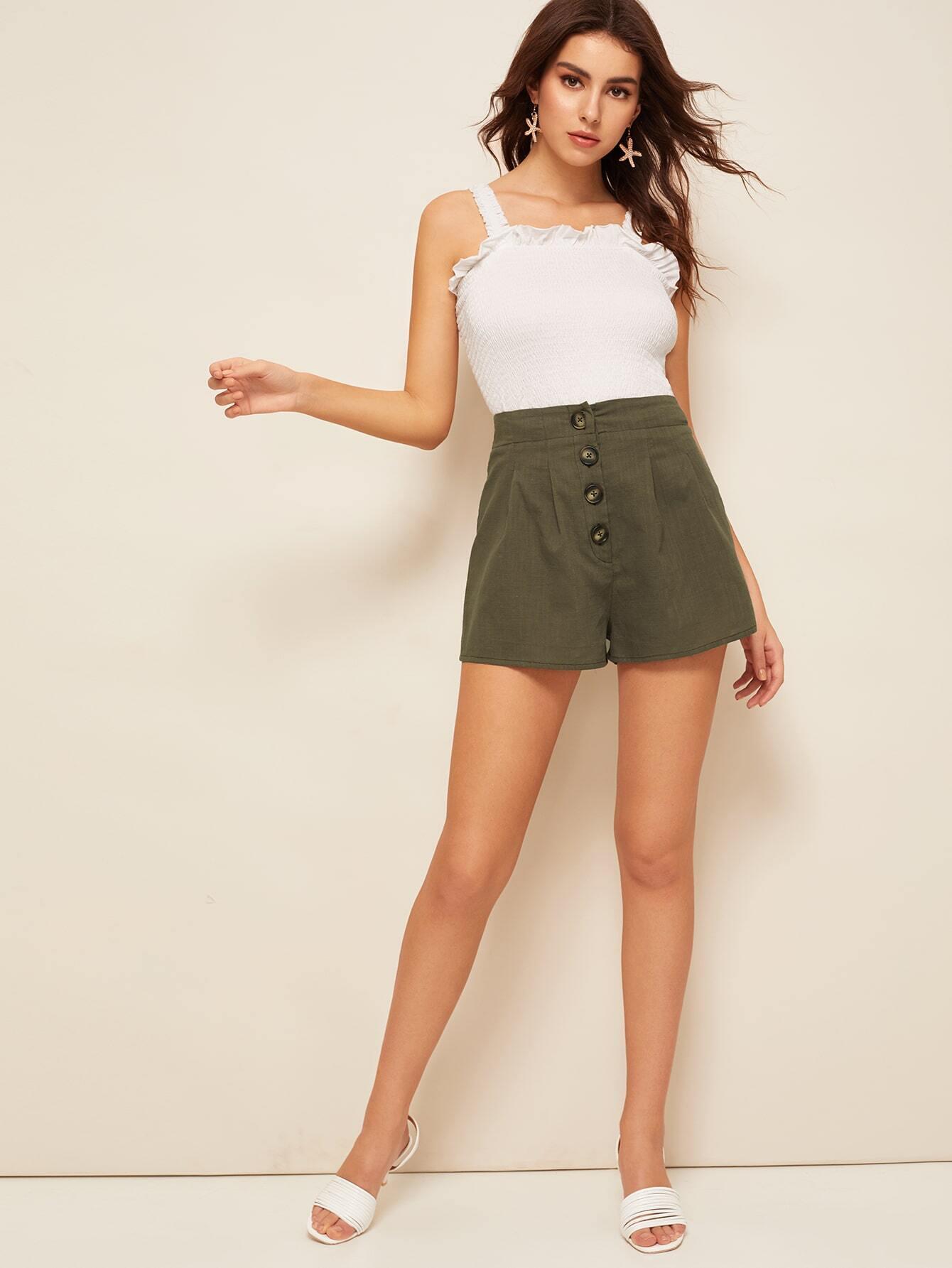 SHEIN / Shorts sólidos de cintura alta con botón