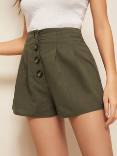 Solid Button Fly High Waist Shorts