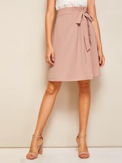 Tie Waist Solid Skirt