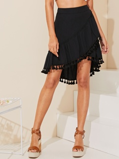 Zip Side Wrap Ruffle Tassel Hem Skirt