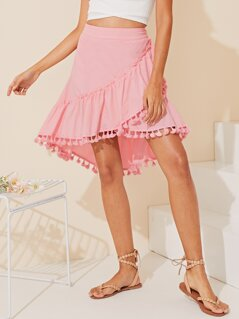 Ruffle Trim Pompom Hem Dip Hem Wrap Skirt