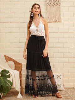 Drawstring Waist Embroidered Mesh Overlay Skirt