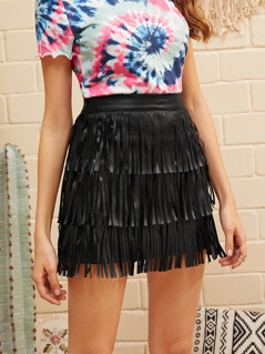 Solid Layered Fringe Skirt