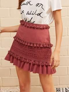 Tassel Trim Guipure Lace Detail Ruffle Skirt
