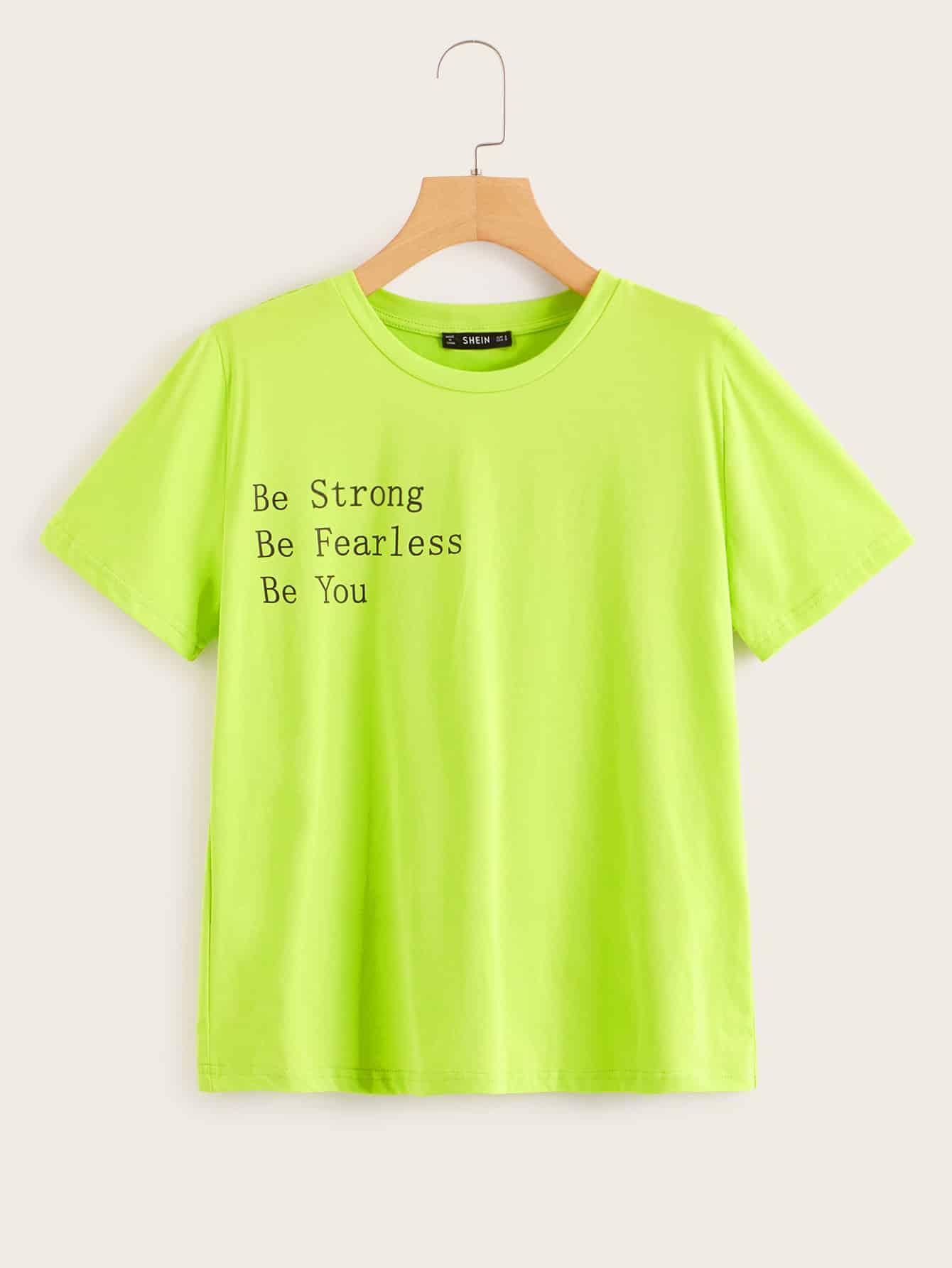 Фото - Неоновая футболка с принтом слогана от SheIn цвет зелёный