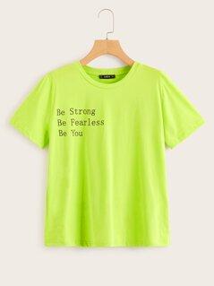 Neon Green Slogan Print Tee