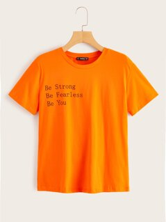 Neon Orange Slogan Print Tee