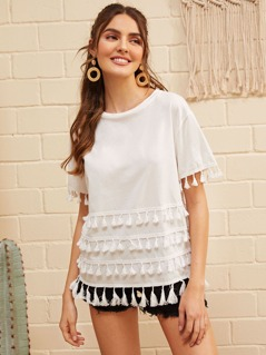 Drop Shoulder Tassel Embellished Top