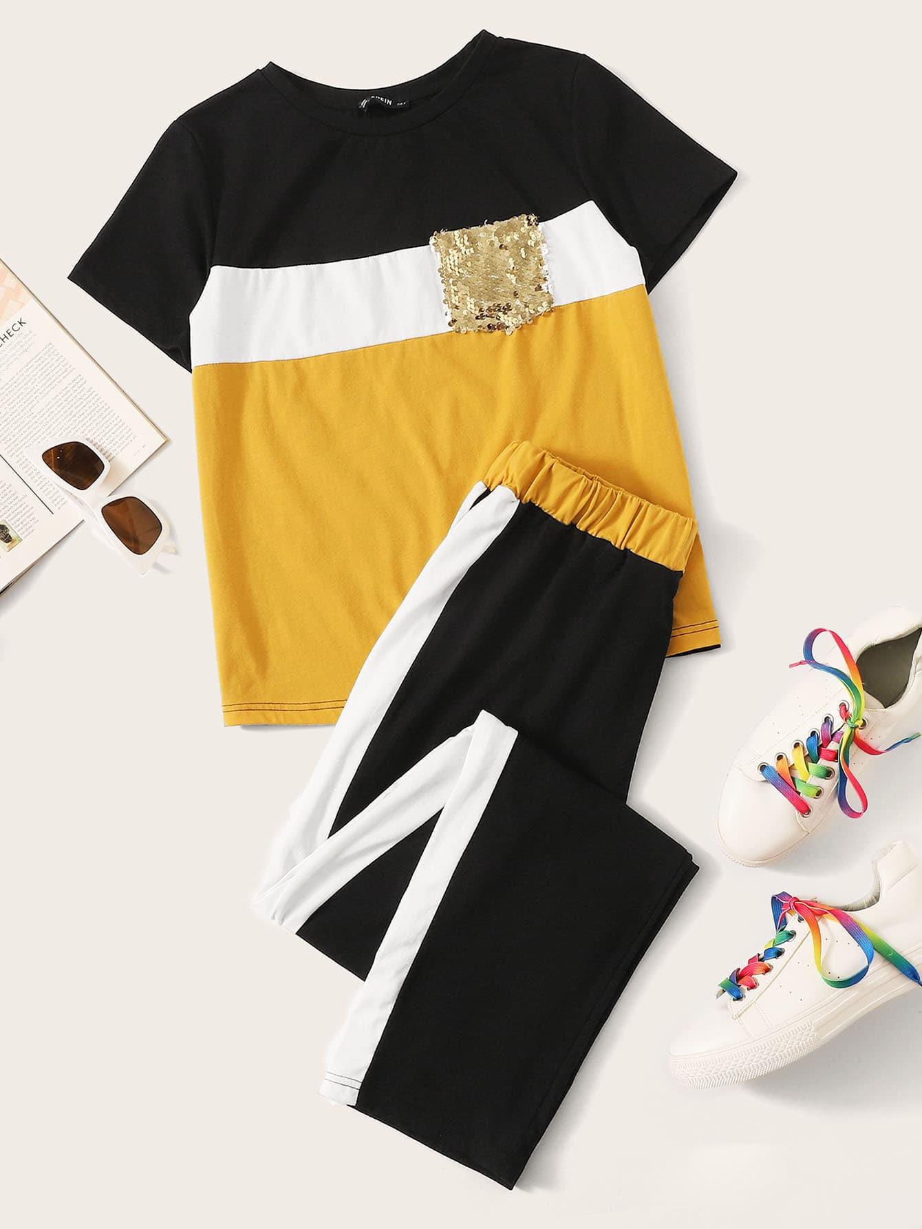 Фото - Контрастный топ с карманом и блестками и брюки комплект от SheIn цвет многоцветный