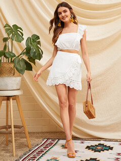 Embroidery Eyelet Ruffle Shirred Top & Wrap Skirt Set
