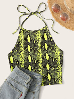 Neon Lime Snakeskin Print Tie Back Halter Top