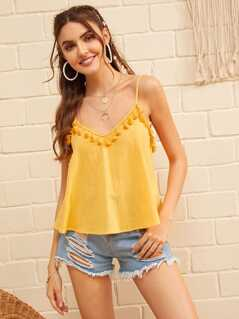 Solid Tassel Trim Cami Top