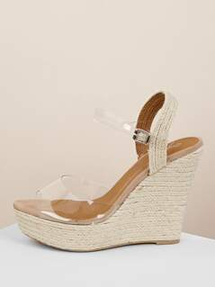 Clear Band Buckle Ankle Strap Jute Platform Wedges