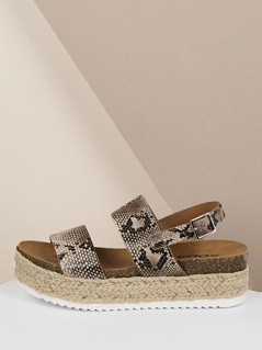 Snake Twin Band Slingback Jute Flatform Sandals