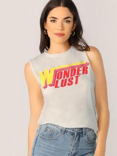Jersey Knit Wonderlust Graphic Tank Top