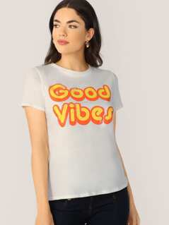 Crew Neck Short Sleeve Good Vibes Graphic T-Shirt