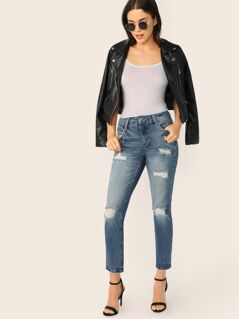 Relaxed Fit Faded And Distressed Skinny Jeans
